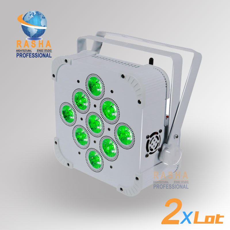 2X LOT Rasha Uzun Pil Ömrü 9*18 W 6in1 RGBAW + UV Pil Powered Kablosuz Dahili Ile LED Kayma Par Par Işık Can 3