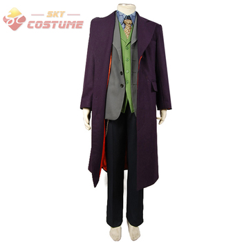 Batman The Dark Knight Joker Cosplay Trençkot + Blazer + pantolon + Yelek + Gömlek + Kravat 6 Adet tam Set Cosplay Joker Kostüm 102838