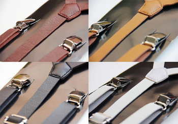 Clip-on Mens Suspenders Ladies Unisex Adjustable Braces Slim Faux Leather Suspenders LZ 783