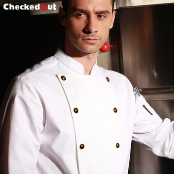 Fashion restaurant hotel long sleeve anti-wrinkle and durable golden buttons white cook uniform for men 110652