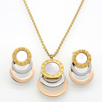 Fashion Roman Numerals Round Shell Multicolor Gold/ Rose/Silver Plated 316L Stainless Steel Earrings & Necklace Jewelry Set 42298