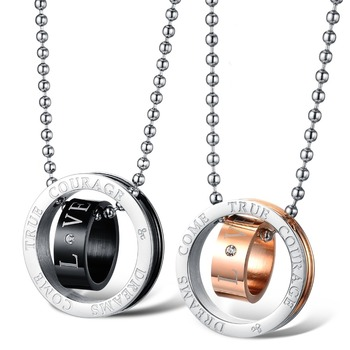 Fate Love Doube Circles Couple Necklace 316L stainless steel Pure Titanium Rose Gold Color Woman Man Fine Jewelry 8476