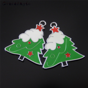 GraceAngie Festival Decoration Jewelry 15PCS Enamel Crafts Zinc Alloy DIY Key Chain Christmas Tree Charms Pendant Baby Gifts 31147