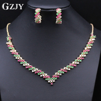 GZJY Beautiful Wedding Jewelry Cubic Zircon Gold Color For Brides Necklace Earring Wedding Party Accessories Women 120310