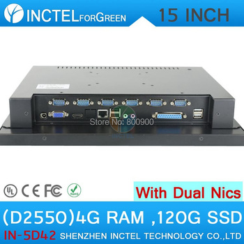Hepsi bir LED ile dokunmatik 15 inç 2 * RJ45 6 * COM HDMI vga 4g ram 120g hdd tam metal intel d2550 1.86 ghz windows XP/7 33093