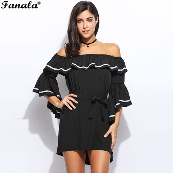 Kadın casual kapalı omuz dress yaz dress flare kollu patchwork mini beach dress ile kemer siyah s ~ xl 8533