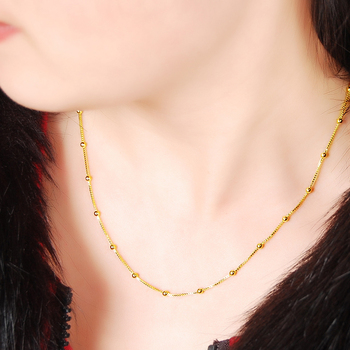 OL Style Real Yellow Gold Color Beads Box Chain Necklace for Women Jewelry for Bridal Collar Bijoux 23163