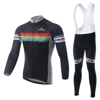XINTOWN Black Winter Thermal Fleece Clothes Cycling Jersey Bib Pants MTB Warm Bicycle Wear Set Ropa Maillot Ciclismo 55474